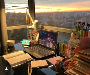 books, college, and desk image