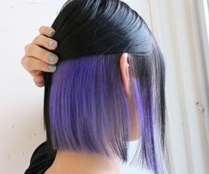 black, hair, and purple and black image