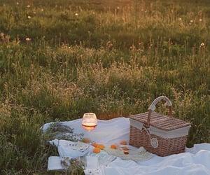 nature, picnic, and sunset image