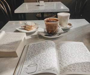 book, coffee, and college image