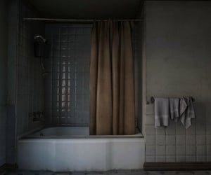 bathroom, curtain, and simple image