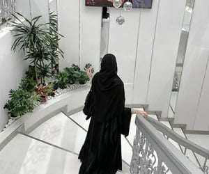 hijab, home interior, and voile image