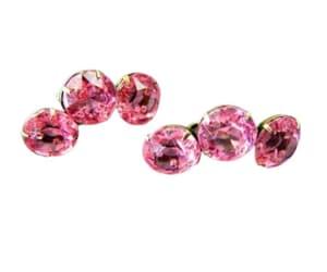 Sterling Silver Pink Rhinestone Earrings Gold Vermeil Ear image 0