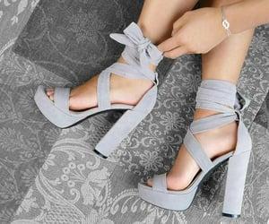 grey, high heels, and platform image