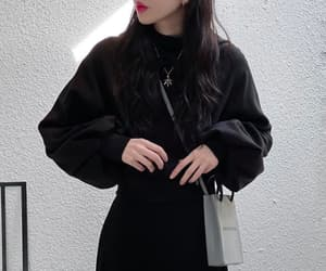 black sweater, business casual, and casual image