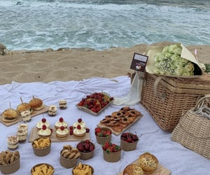 food, picnic, and beach image