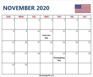 holidays, november, and november 2020 calendar image