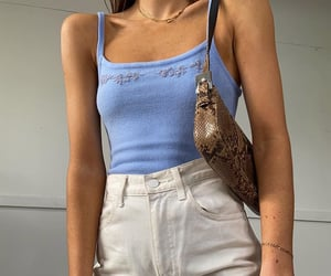 fashionista fashionable, white denim jeans, and baby blue top image
