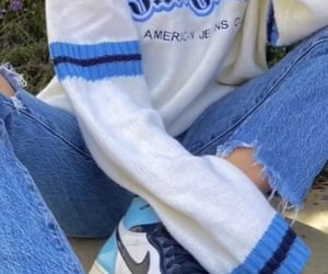 blue, sweater, and jeans image