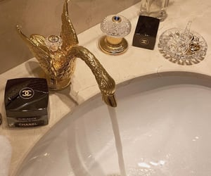 gold, chanel, and bathroom image