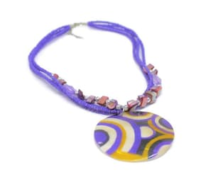 Large Mod Painted Shell Medallion On Multi Strand Purple Bead image 0