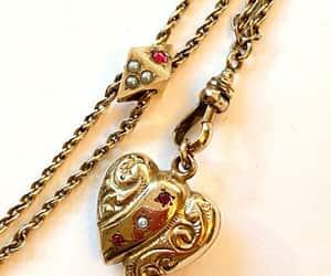 Antique Victorian Slide Chain Necklace Repoussé Puffy Heart image 0