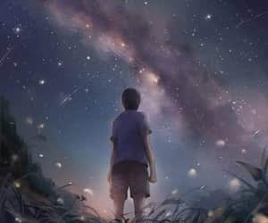 boy, sky, and universe image