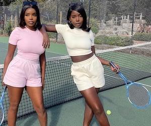 black women, girls, and tennis court image