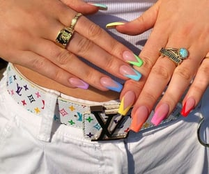 nails, rainbow, and aesthetic image