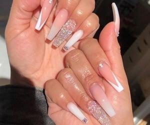 glitter, nail designs, and long nails image