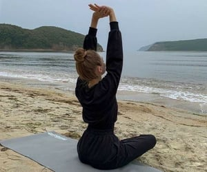 yoga, beach, and relax image