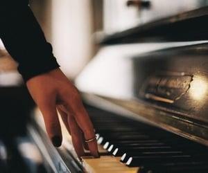 piano, music, and hand image