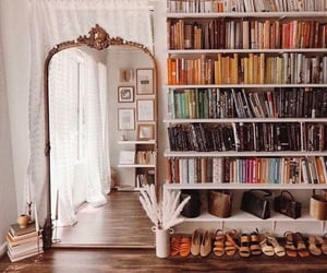 book, mirror, and library image