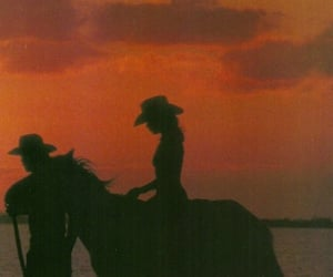 sunset, girl, and horse image