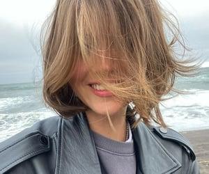 beach, short hair, and woman image