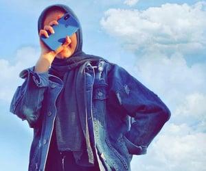 girl, hijab, and jacket image