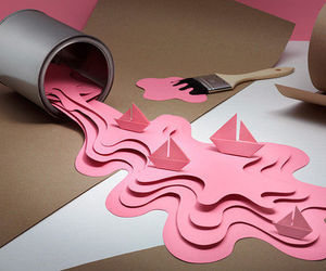 pink, Paper, and art image