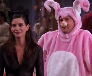 chandler and monica at the one with the halloween party