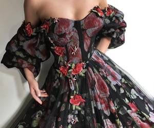 beautiful, black, and flower dress image