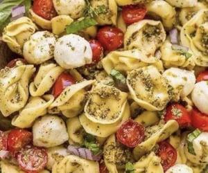 mozzarella, pesto, and pasta image