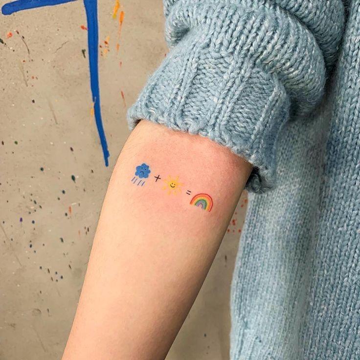 tattoo, cloud, and rainbow image
