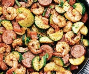 food, sausage, and shrimp image
