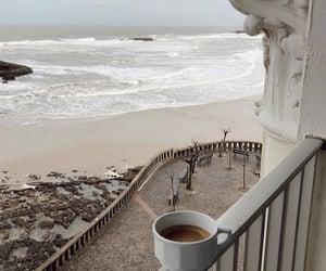 coffee, beach, and balcony image