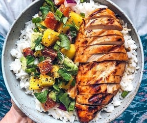 food, rice, and Chicken image