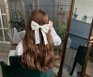brown hair, hairstyle, and hair accessory image