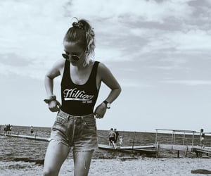 b&w, beach, and levis image