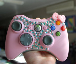 pink, hello kitty, and xbox image