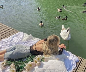 flowers, Swan, and water image