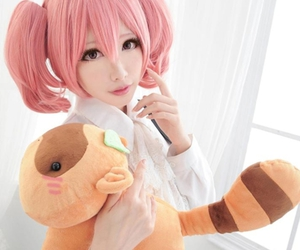 cosplay, pink hair, and plush image
