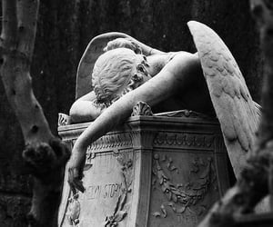 angel, statue, and black and white image