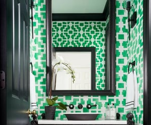 bathroom, green, and wallpapered image