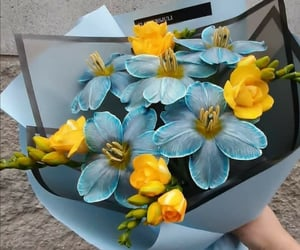 flowers, blue, and yellow image