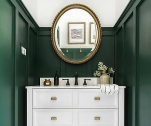 bathroom, green, and brownstone image