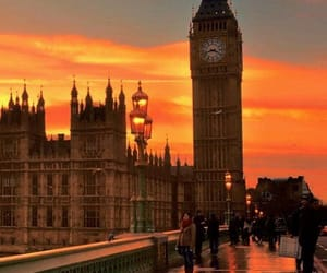 london, city, and sunset image
