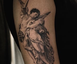 angel, art, and black and grey image