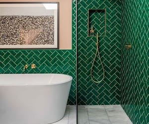 bathroom, green, and interior image