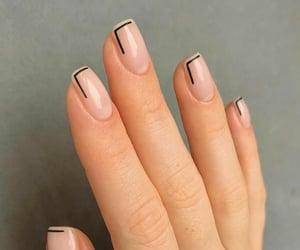 black, short, and short nails image