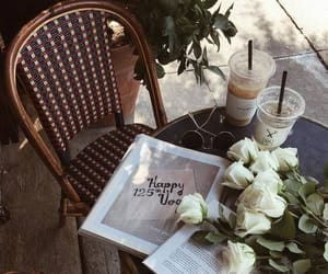 flowers, cafe, and coffee image