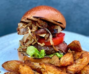 bacon, burger, and potato chips image