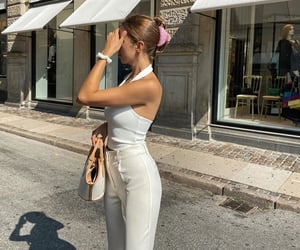 wide leg pants, backless top, and white crop top image